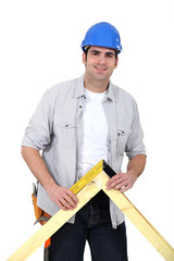 Carpenter with wood