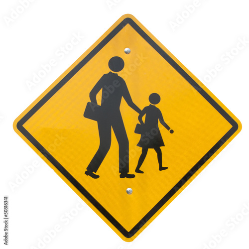School warning sign isolated
