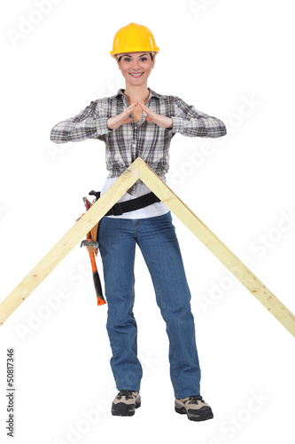 Woman with the apex frame of a house