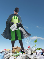 Eco superhero and green plantlet