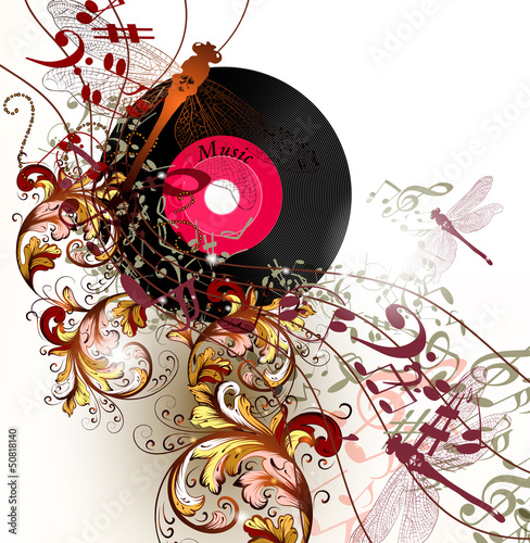 Creative music background with notes and ornament