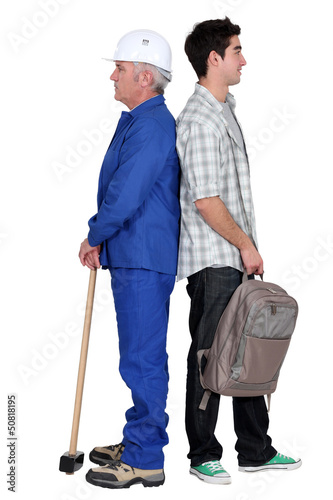 Senior man and younger with backpack