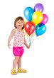 Little girl smiling with balloons.
