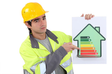Builder with an energy rating sign