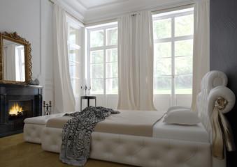 klassisches schlafzimmer mit kamin