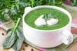 Healthy vegetable soup with spinach and mozzarella