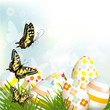 Easter  outdoor background with clear space, eggs and green gras