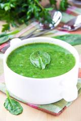 Velvety cream soup of spinach