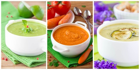 Collage of cream vegetable soup