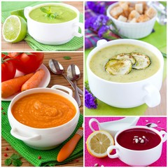 Collage of cream soup for menu