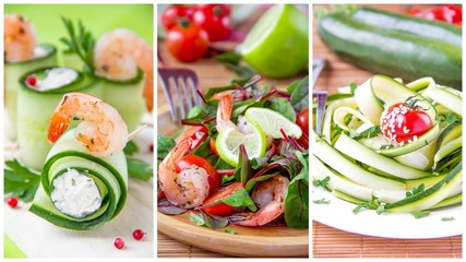 Collage of summery fresh appetizers: salads and cucumber rolls