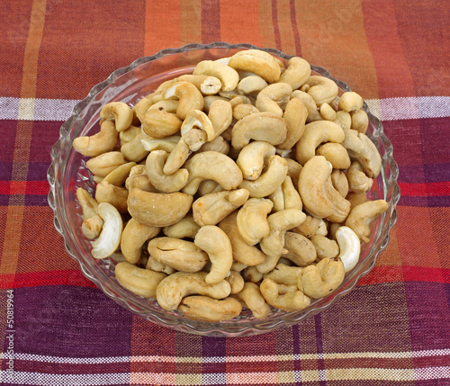 Whole Unsalted Cashews in Dish