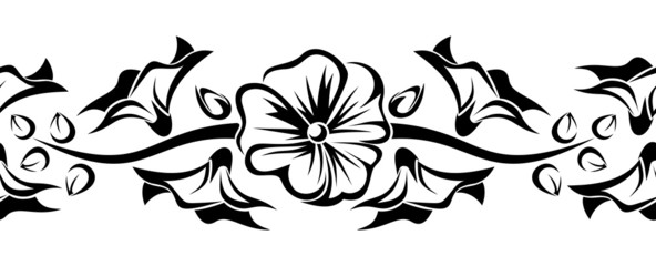 Horizontal seamless vignette with mallow flowers. Vector.