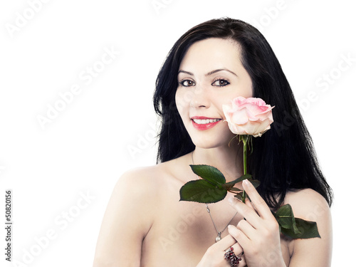pretty young woman with a rose