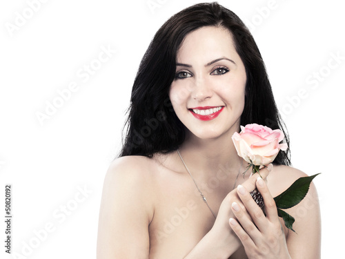 smiling woman with a rose - isolated