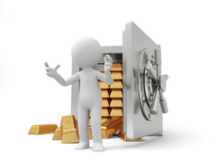 A 3d man introducing , back to a full gold bars safe