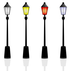 street lights color vector illustration