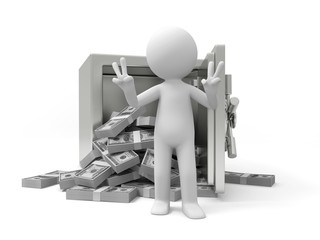 A 3d man standing back to a full dollar safe