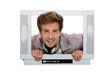 Man behind television frame