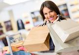 Portrait of shopaholic woman smiling