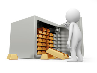 A 3d man thinking , face to the opened safe, full gold bars