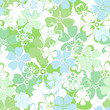 Vector seamless pattern with white, blue and green flowers.