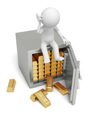 A 3d man seated on a safe thinking , full gold bars safe