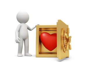 A 3d man standing at a safe, a red heart in the safe