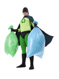 Eco superhero and household garbage