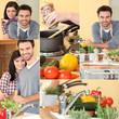 happy couple enjoying cooking