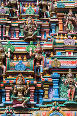 Sculptures on Hindu temple. Bangkok, Thailand