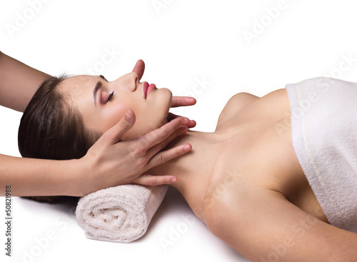 facial massage for  young woman