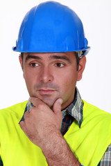 A worried tradesman