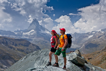 Switzerland - Matterhorn view hikers