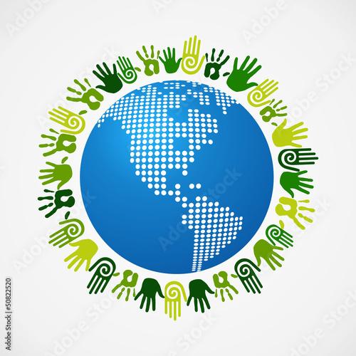 Go green diversity human hand American map
