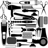 Hairdressing,  Vector set of accessories for hair.