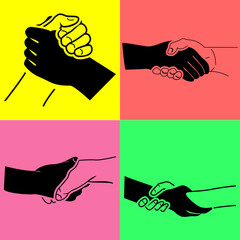 Handshake glossy black icon, vector illustration.