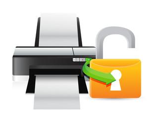 printer unlock illustration graphic design