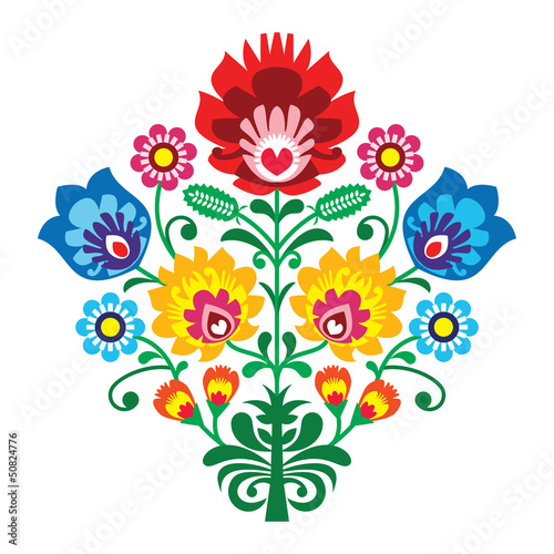 Folk embroidery with flowers - traditional polish pattern - 50824776