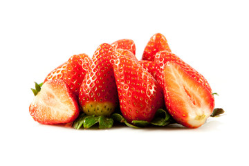 Strawberries with leaves. Isolated on a white background.