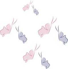 Schmetterlinge in rosa und lila