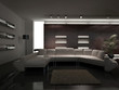 Modern Living Room with white couch | 3d interior