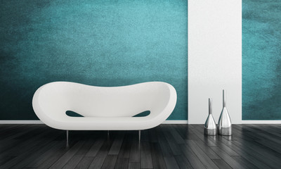 Modern white couch in front of colorful wall   3d interior
