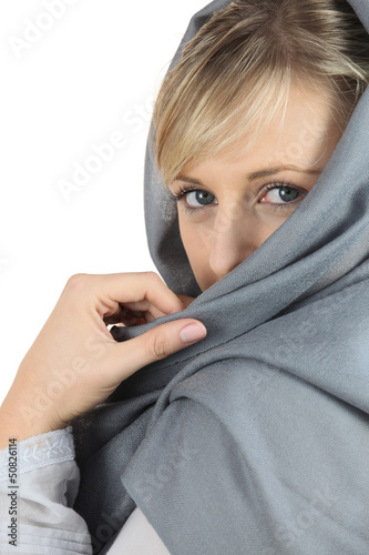 Woman with grey shawl