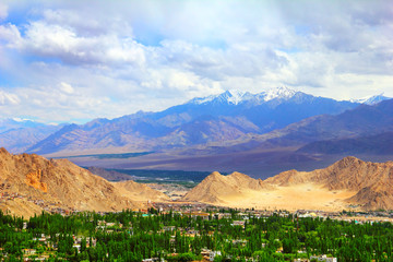 View of Leh valley, Ladakh range, Jammu