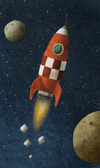 red rocket flies through space