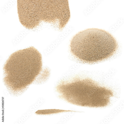pile desert sand isolated on white background
