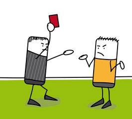 Arbitre qui sort un carton rouge