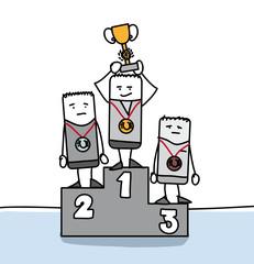 Personnages sur un podium avec une médaille autour du cou
