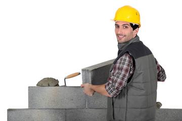 Bricklayer hard at work